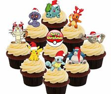 Pokemon Christmas Party - 36 Edible Cupcake Toppers, Fairy Cake Decorations Go