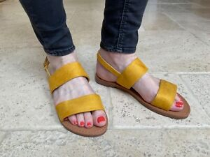 Womens Slingback Sandals Strappy Flat Sliders By CM Paris - 839 751 Yellow