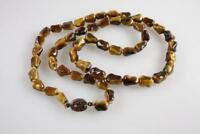 VINTAGE CHINESE TIGER EYE BEADED NECKLACE WITH silver filigree clasp