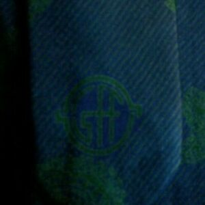 """Skinny Blue Green Paisley FERRE Silk Tie 3"""" Wide"""