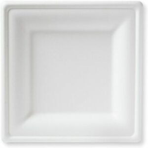 20CM SQUARE BAGASSE PLATES Biodegradable Strong White Square Plates x 125 NEW