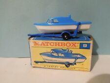 "Vintage Lesney Matchbox Regular Wheels No 9 Boat & Trailer ""F"" Box VNM"