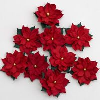 Poinsettias Red Small Xmas Christmas Embellishments 9 Pack XM023