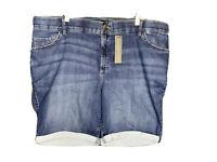 Womens Lee Plus Size Flex Motion Dark Wash Bermuda Stretch Shorts Size 22W
