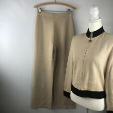 ST. JOHN By Marie Gray Knit Beaded Tan Pant Suit Sz 4 Top Sz 2 Pant