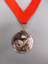 Silver Baseball medal with red neck drape trophy