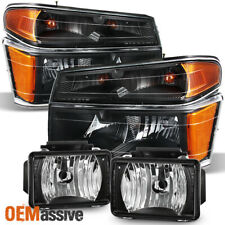 Fit 2004-2012 Chevy Colorado GMC Canyon Pickup Black Headlights + Fog Lights