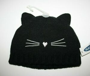 Old Nave Pink / Black Hat Beanie Cat Toddler Girls Baby Shower Size: 3-9, 12-18