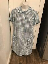New listing Vtg 50s Womens Blue Plaid Shift Dress Pockets Short Sleeve Size S/M