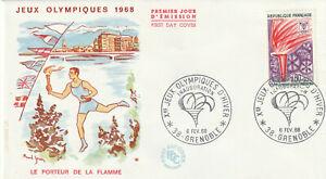 ENVELOPPE 1er JOUR 1968 - JEUX OLYMPIQUES D'HIVER - GRENOBLE - PORTEUR FLAMME