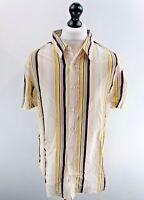 HUGO BOSS Mens Shirt Short Sleeve XL White Brown Grey Yellow Stripes Cotton