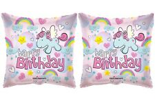 "2 Rainbow Unicorn 18"" Balloons Birthday Party Decorations"