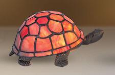 Handmade Stained Glass Turtle Tortoise Tiffany Table Desk Heavy Lamp 23cm Long