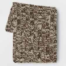 """Threshold Cable Knit Throw Blanket Brown Cream Tweed 50"""" X 60"""""""