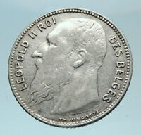 1909 BELGIUM King Leopold II Antique Silver 1 Franc Belgian Coin FRENCH i78798
