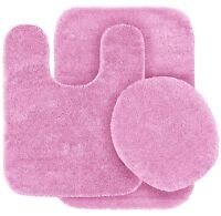 SOLID BATH RUG CONTOUR MAT TOILET LID COVER BATHROOM SET 3PC LIGHT PINK #6
