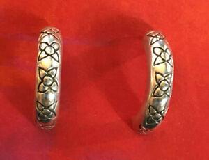"""Sterling Silver Earrings Huggie Demi Hoop Flower Oxidized .75"""" 4g 925 #1761"""
