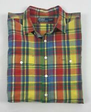 Polo Ralph Lauren Mens Linen Silk Multi-Color Plaid Button Work Shirt 2XL XXL