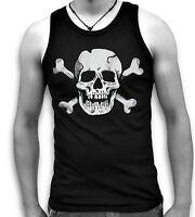 Biker Goth Pirate Skull Bones Mens Sleeveless Muscle T Tank Top Vest Sm 2XL
