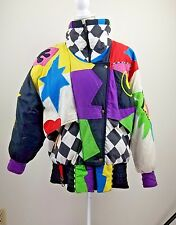 Gallery Womens Jacket Vintage Size L Zip Up Puffer Duck Down Geometric Design