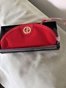 Giorgio Armani Beauty Womens Red Make-up Case W/gold Trim New