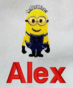 Personalised Embroidered Baby Hooded Bath Towel, your text, minion, boy, girl