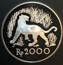 Indonesia - Silver 2000 Rupiah Coin - Javan Tiger - 1974 - Proof