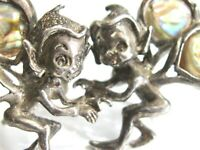 VINTAGE CYVRA 925 STERLING SILVER PIXIE FAIRY NYMPH ELF SCREW EARRINGS w ABALONE