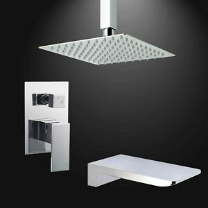 Chrome Square Ceiling Shower Set Concealed Mixer Valve Waterfall Bath Filler
