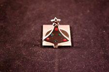 "Lovely Elegant 1.5"" Pewter Christmas Holiday Tree Business Card Holder"