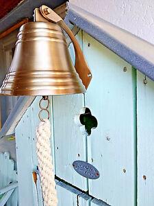 Cloche murale laiton finition patiné pour entrée de la maison bateau.diam:12,5cm