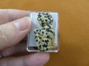 (ann-cat-8) spotted jasper Cat gemstone carving PENDANT necklace Fetish cats