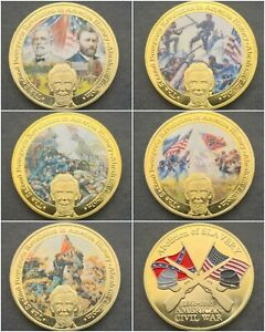 Set of 5 AMERICAN CIVIL WAR Challenge Coins FREE COIN STANDS AND BRAND NEW FITTE