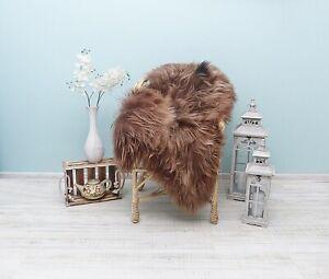 GIANT Dyed Brown Sheepskin Rug, Natural Sheepskin Sofa Cover, Real Sheepskin Bed