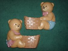 Home Interiors Burwood Set Of 2 Bear Wall Planters Or Pockets / Pink & Blue