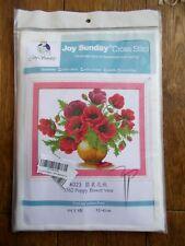 NEW~JOY SUNDAY CROSS STITCH TAPESTRY KIT~POPPY FLOWERS IN A VASE ~ 52 X 42cm