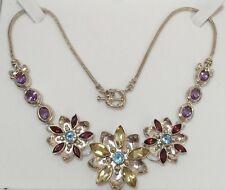 Designer Sterling Silver 22Ct Multi Gemstone Flower Artisan Wheat V 925 Necklace