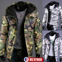Men's Camo Hooded Jacket Coat Camouflage Zipper Padded Winter Hoodie Outwear US