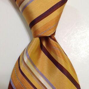IKE BEHAR Men's 100% Silk XL Necktie USA Designer STRIPED Gold/Brown/Wine GUC