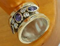 AAA QUALITY STERLING 925 SILVER HANDMADE JEWELRY BRAZIL PURPLE AMETHYS BAND RING