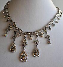 Necklace In Antique Silver Tone Kirks Folly Aurora Borealis Crystal