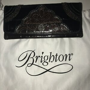 Brighton Black and Brown Leather w/ Crocodile Silver Accent Wallet With Dust Bag