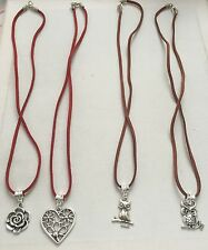 4xWholesale Suede Leather Cord Necklaces With Tibetan Silver Charms - Joblot