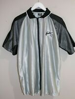 FUBU Brand Men's Grey Black Silky Zip Front Short Sleeve Shirt Size L #AN02