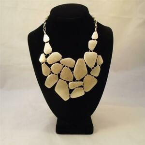 LYDELL NYC MATTE GOLD DISTRESSED CLUSTER BIB STATEMENT NECKLACE NWOT FREE S&H Ri