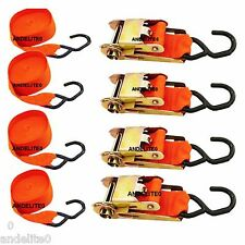 "Set of 4 Ratchet Tie Down Straps 12' X 1"" Quick Release & Vinyl Trailer Hooks"