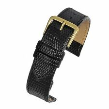 Mens 18mm genuine black real leather lizard grain quality watch strap band