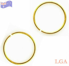 2 Nose Rings Hoop Open Ended Clip On or Fake 20g 8mm GOLD Anodized Titanium*