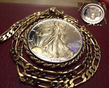 """1990 American Silver Eagle Gilded Pendant on a 24"""" 18k Gold Filled Figaro Chain."""