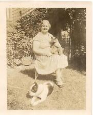 Grandma Lady Holding Cat & Boston Terrier Dog Nearby On Ground Vintage Photo